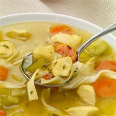 Savor the taste of hearty, homemade chicken noodle soup made in the slow cooker.