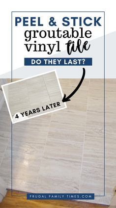 Groutable vinyl tile review: Are they actually durable? How do groutable peel and stick tiles hold up to years of use? Here's how ours have held up after more than 4 years. Also links to a great tutorial for installing and grouting vinyl tile. #diy #howto #bathroom Groutable Vinyl Tile, Peel And Stick Vinyl, Frugal Family, Affordable Home Decor, Tile Floor, Tiles, Diy, Room Tiles, Inexpensive Home Decor