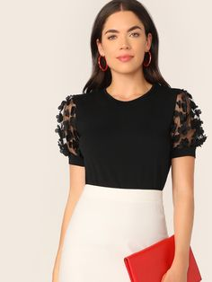 To find out about the Applique Mesh Sleeve Top at SHEIN, part of our latest T-Shirts ready to shop online today! Blouse Styles, Blouse Designs, Hijab Styles, Fashion News, Fashion Outfits, Womens Fashion, Fashion Blouses, Fashion Fashion, Textiles Y Moda