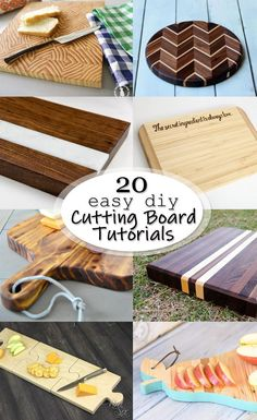 Do you love wooden cutting boards as much as I do? Check out these 20 Easy DIY Cutting Board Tutorials for inspiration! There are many different styles and techniques to make any type of cutting board you want! Great use of your scrap wood pile! Wood Projects That Sell, Wood Projects For Beginners, Wood Working For Beginners, Cool Diy Projects, Project Ideas, Woodworking For Kids, Woodworking Classes, Easy Woodworking Projects, Woodworking Equipment