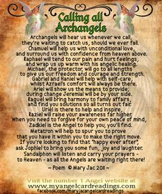 Free Angel Cards - Angel Card Readings - Free Angel Love Cards - Free Angel messages - - Angel Wishes- Signs from the Angels - Angel Healing - Positivity quotes - Image quotes - Angel quotes - Inspirational quotes - Fairy Realm - Fairies - Angel Affir Angels Among Us, Angels And Demons, All Archangels, Angel Protector, Archangel Prayers, Archangel Raphael Prayer, Angel Quotes, I Believe In Angels, Angel Numbers