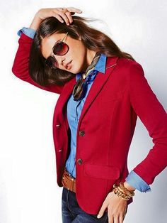 Red blazer with denim shirt and denim jeans. Love it!