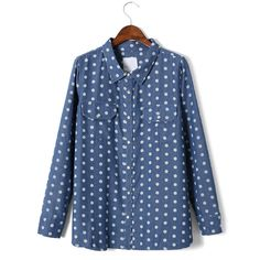 Polka Dots Double Pockets Denim Shirt ($36) ❤ liked on Polyvore featuring tops, chicwish, shirts and camisetas