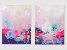 Pink Abstract Painting Acrylic art on paper Contemporary wall  #painting #abstract #svetlansa #homedecor #pink #violet