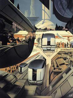 buses of tomorrow - Syd Mead - Denis Preysman - Alles Uber Kinofilme Futuristic City, Futuristic Technology, Futuristic Design, Futuristic Architecture, Technology Gadgets, Minimalist Architecture, Technology Design, Cyberpunk, Art Science Fiction