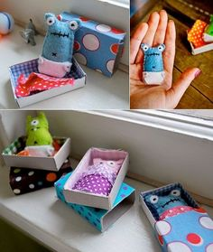 matchbox monsters - Mini-Monster in der Schachtel Kids Crafts, Cute Crafts, Felt Crafts, Arts And Crafts, Matchbox Crafts, Matchbox Art, Sewing Crafts, Sewing Projects, Craft Projects