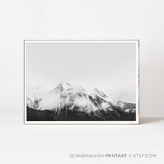 Mountain print black and white landscape by ScandinavianWalls