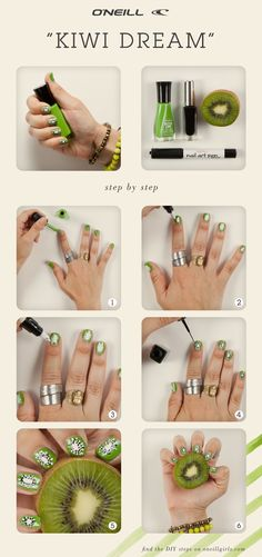 Kiwi Dream Manicure Nail Art DIY steps.