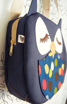 Susie the Owl Navy Polka Dots Applique Canvas Tote Purse by Cuore