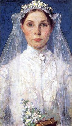gari melchers(1860-1932), the bride, 1903. oil on canvas, 53.98 x 30.8 cm. gari melchers home and studio, usa http://www.the-athenaeum.org/art/detail.php?ID=128127