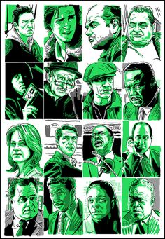 """Characters from """"The Wire"""" - """"Prometheus Bound"""" - Tim Doyle The Wire Tv Show, The Wire Hbo, Hbo Tv Series, East Coast Style, Hbo Go, Pop Art Wallpaper, Life Of Crime, Movie Poster Art, Film Posters"""