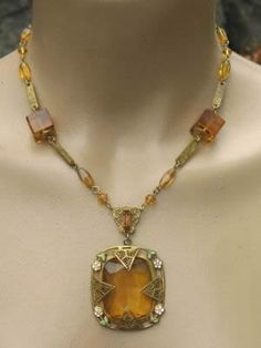 VTG. Art Deco Amber Czech Glass Bead Enamel Necklace