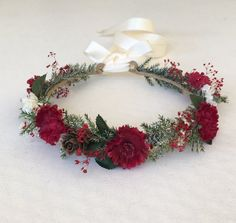 Christmas Flower Crown Flower Girl Flower Crown by FlowerHungry