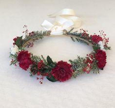 Christmas Flower Crown Flower Girl Flower Crown by FlowerHungry