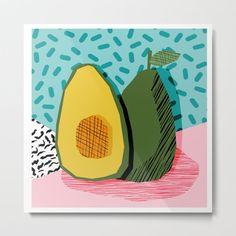 Choice - Wacka Memphis Throwback Retro Neon Fruit Avocado Vegetable Vegan Vegetarian Art Decor Metal Art Print by Wacka - LARGE Artwork Prints, Poster Prints, Canvas Prints, Small Canvas Art, Shape Art, Food Illustrations, Memphis, Metal Art, Art Decor