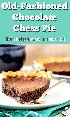 Chocolate chess pie tastes like a rich, super gooey, fudgy brownie in a crust. It's an easy to make, old-fashioned pie made for true chocolate lovers. If that sounds good to you, read on! Chocolate Chess Pie, Chocolate Pie Recipes, Chocolate Lovers, Chocolate Chocolate, Best Dessert Recipes, No Bake Desserts, Easy Desserts, Delicious Desserts, Yummy Cupcakes