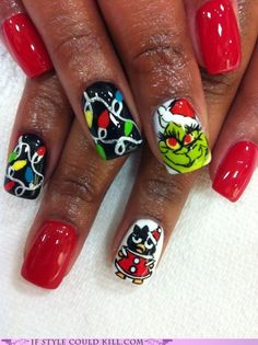 Designed by Nails by Regina    Badtz Maru and the Grinch. In case you needed a little villainy with your holiday cheer.