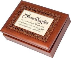 Granddaughter Cottage Garden Rich Woodgrain Finish with Ornate Inlay Jewelry Music Box  Plays Song You Light Up My Life * See this great product.