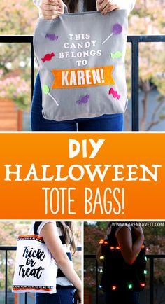 DIY Halloween Tote Bags for Trick or Treating! ~ Karen Kavett