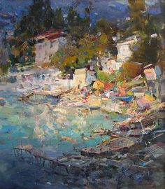 """""""View of the cottage of the artist Konstantin Korovin."""" , oil on canvas, 19x16,5 inches (48x42 cm), 2011.  This painting is not available.  Now this is the house of creativity. These artists come from different cities and they are painting studies in Gurzuf."""