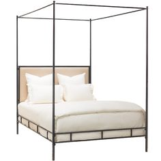 Marco Bed Cal King - Hand Hammered Iron Frame w/Canopy ,Tapering Posts and Upholstered Headboard