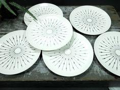 Sunburst china plates by Knowles - charcoal grey starburst design -  MCM - Mid century modern dinnerware - Salad plate - bread plate