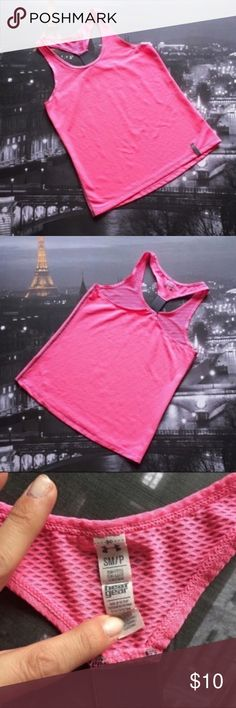 "Under Armour Pink Racerback Tank Top Size small Under Armour run pink tank top. Looks like mesh but it's not see through. Measures 24.5"" long. No defects to it. I'm only looking to sell at this time so sorry but no trades. My listing price is firm. Under Armour Tops Tank Tops"
