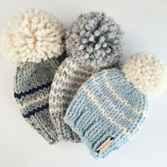 Nickichicki hand knit pom-pom beanies available in a large variety of custom colors and designs! Nickichicki hand knit pom-pom beanies available in a large variety of custom colors and designs! Knit Or Crochet, Crochet For Kids, Crochet Crafts, Yarn Crafts, Crochet Granny, Hand Crochet, Finger Knitting, Loom Knitting, Knitting Patterns