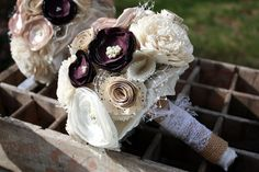 "Champagne and eggplant wedding bouquet, 6"" Custom Fabric flower and v ..."