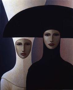 Mujeres de día lluvioso -  George Underwood - óleo sobre lino