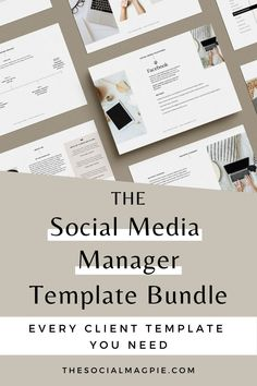 Use these 6 templates to streamline your business, look more professional and impress your clients. This bundle is easy to customise and contains everything you need to create a memorable client experience. Social Media Report, Social Media Analytics, Social Media Services, Digital Marketing Manager, Media Marketing, Small Business Plan, Computer Basics, Business Planner, Cricut Tutorials