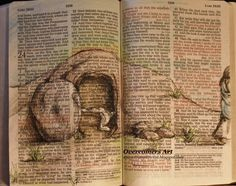drawing in your bible | He Is Risen Beautiful Easter Bible Art by OvercomersArt on Etsy