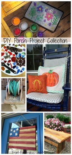 DIY porch projects collection from Front Porch Ideas and More.  Mary and I really have enjoyed all these projects - from decorations we've made to benches, flags, birdhouses, garden hose holders and faux stained glass panels.