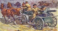 """'Tachankas On Line Of Fire' by G. Savitzky 1931. Russian Maxim Model 1910 machine gun mounted on a cart with four horses in the Russian Civil War era. The word """"Tachanka"""" refers to the spring carriage and was widely used to carry Maxim machine guns during the war. In modern Russian usage, it means a machine gun unit with three or four horses as depicted in the painting and was a widely used propaganda image."""