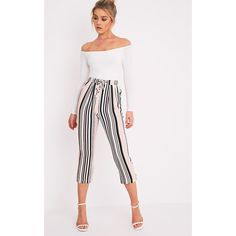 Diya Blush Stripe Cropped Trousers ($12) ❤ liked on Polyvore featuring pants, capris, pink, white elastic waist pants, pink pants, slim leg pants, elastic waist pants and cropped capri pants