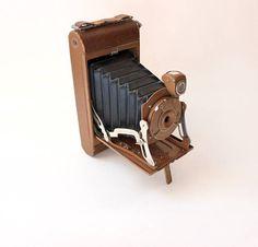 Vintage Brown No.1 Pocket Kodak Junior Camera with Black