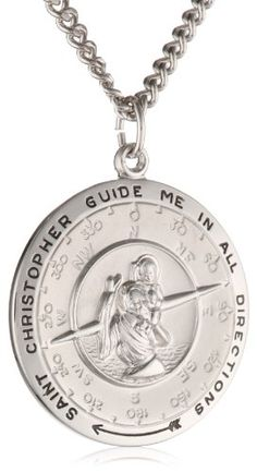 Men`s Sterling Silver Round Saint Christopher Pendant Necklace with Compass Design, 24 - List price: $95.00 Price: $49.00 Saving: $46.00 (48%) + Free Shipping