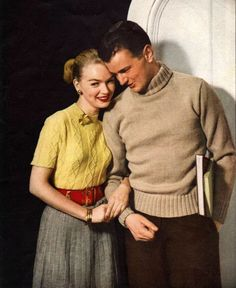 1952 sweatered couple fashion color photo print ad....50s the guy really looks like a young John Wayne!  Is that possible?