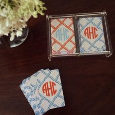 monogrammed playing cards from haymarket designs