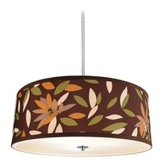 Drum Pendant Light with Floral Shade in Satin Nickel Finish at Destination Lighting Kitchen Lighting Fixtures, Kitchen Pendant Lighting, Kitchen Pendants, Drum Pendant, Ceiling Fixtures, Pendant Lights, Light Spring, Drum Shade, Polished Chrome