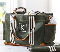 Pottery Barn Army Green Classic Diaper Bag Personalized with single letter 'B'