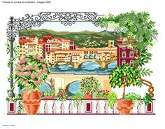 Firenze in cornice 1 Dream Catcher Boho, Cornice, Cross Stitch Designs, Beautiful Landscapes, Scenery, Embroidery, Detail, Projects, Outdoor