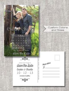 Just ordered these for our save the dates :)  DIY Printable PDF - JPEG - Save the Date Monogram Calendar Engagement Photo PostCard - Customizable - Vertical Announcement - Vintage Rustic, $24.95