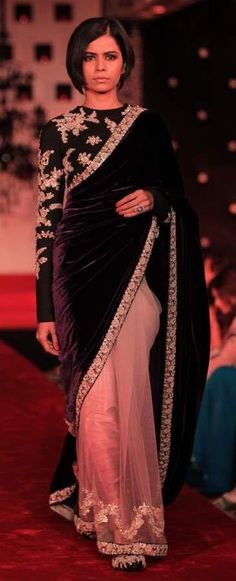 827feec4177dd6 Peach net and violet velvet half and half saree with black high neck full  sleeves blouse