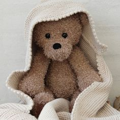 Teddy and blanket from Go Handmade : Teddy and blanket from Go Handmade Crochet Animal Amigurumi, Crochet Teddy, Knit Or Crochet, Crochet For Kids, Amigurumi Doll, Amigurumi Patterns, Doll Patterns, Crochet Toys, Crochet Patterns