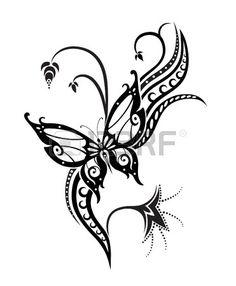 R sum silhouette invent papillon d coratif Il est con u pour d corer Peut tre pour le tatouage Banque d'images
