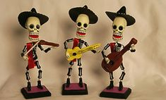 """Mariachi Players    Beautifully crafted and bendable!  6"""" tall x 3"""" w x 2"""" deep    Violin player A1307  Guitar player A1305  Guitarrón player A1306  $28 each"""