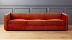Club 3-Seater Rust Velvet Sofa | CB2