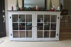 old windows, cabinet, repurpose, recycle, distressed. Shaby chic