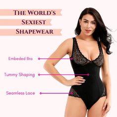 The world's sexiest shapewear, SHOP NOW on FemCODES.com Best Underwear, White Burgundy, Lace Decor, Women's Shapewear, Love Handles, Lace Bodysuit, Easy Wear, Stylish Dresses, Sculpting
